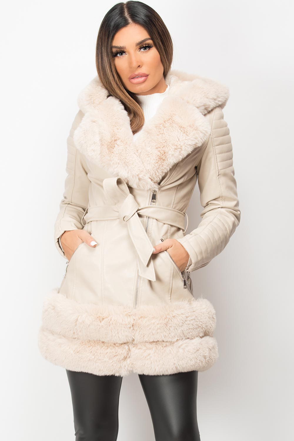 faux leather faux fur jacket cream