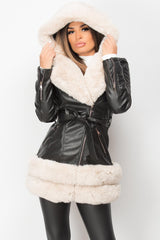 black faux leather belted hooded jacket with cream faux fur