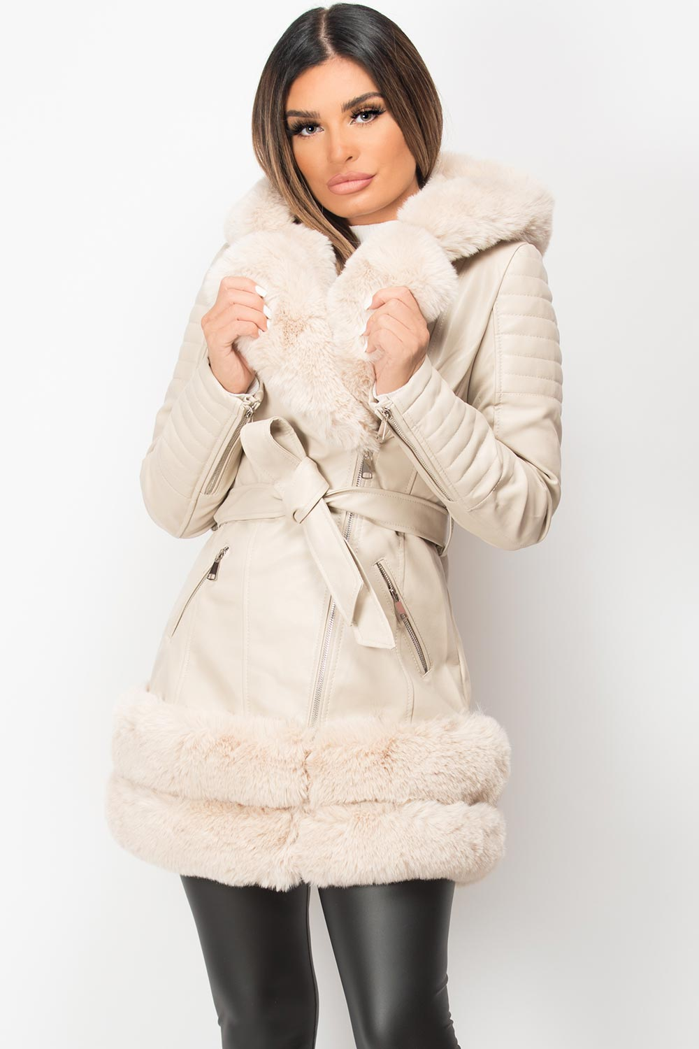 faux leather hooded belted jacket long cream