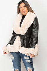 cream faux fur faux leather belted jacket