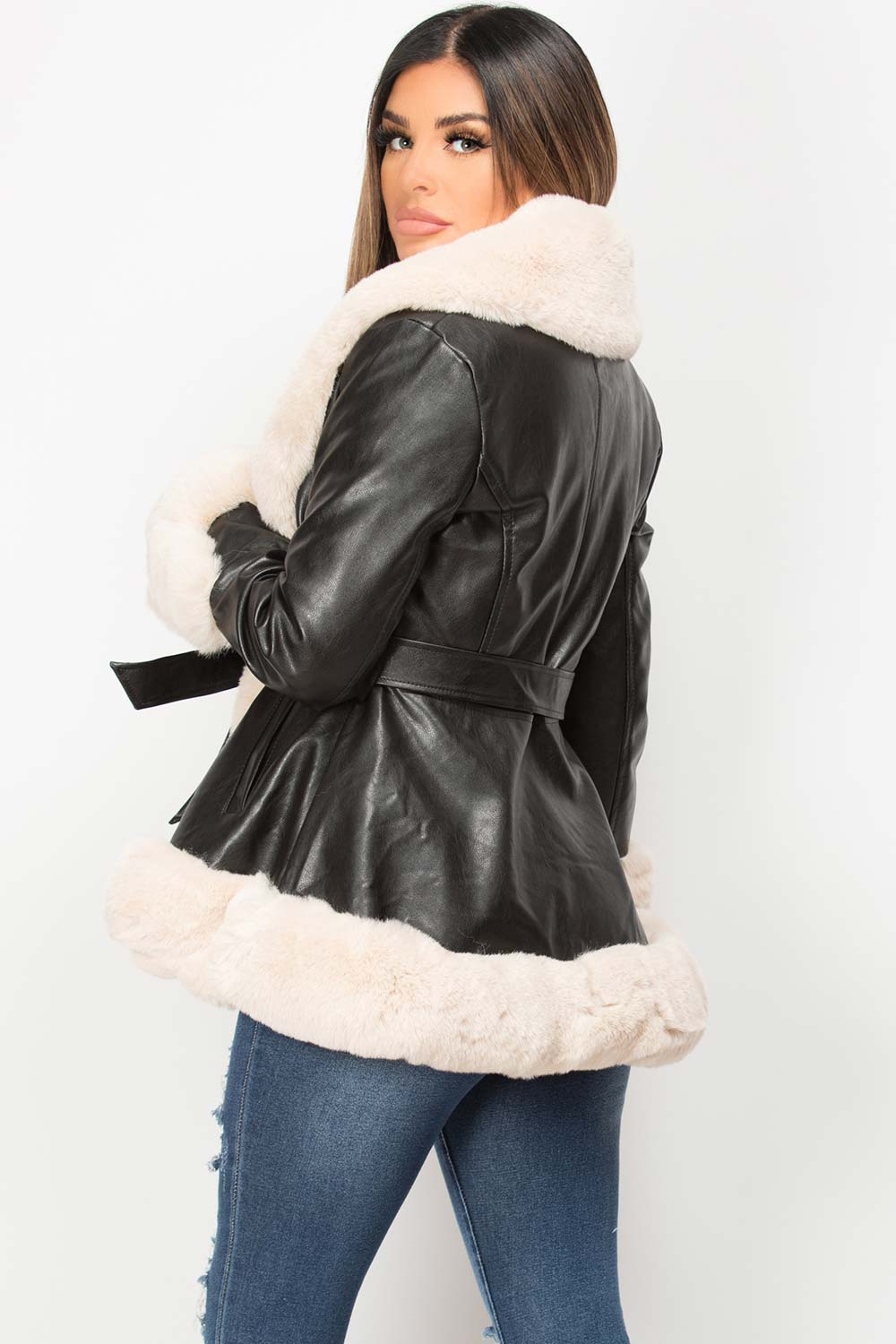 faux fur faux leather belted jacket