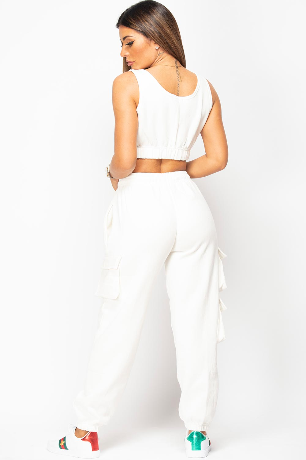 cream crop top and joggers set