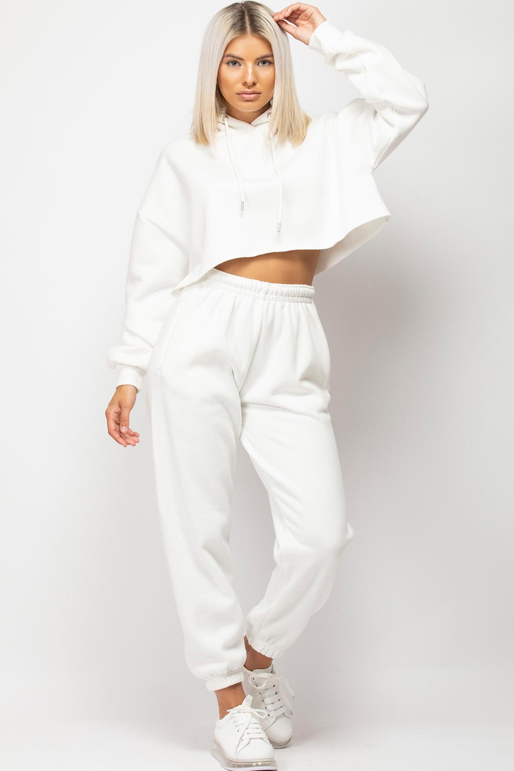 womens cropped lounge set cream