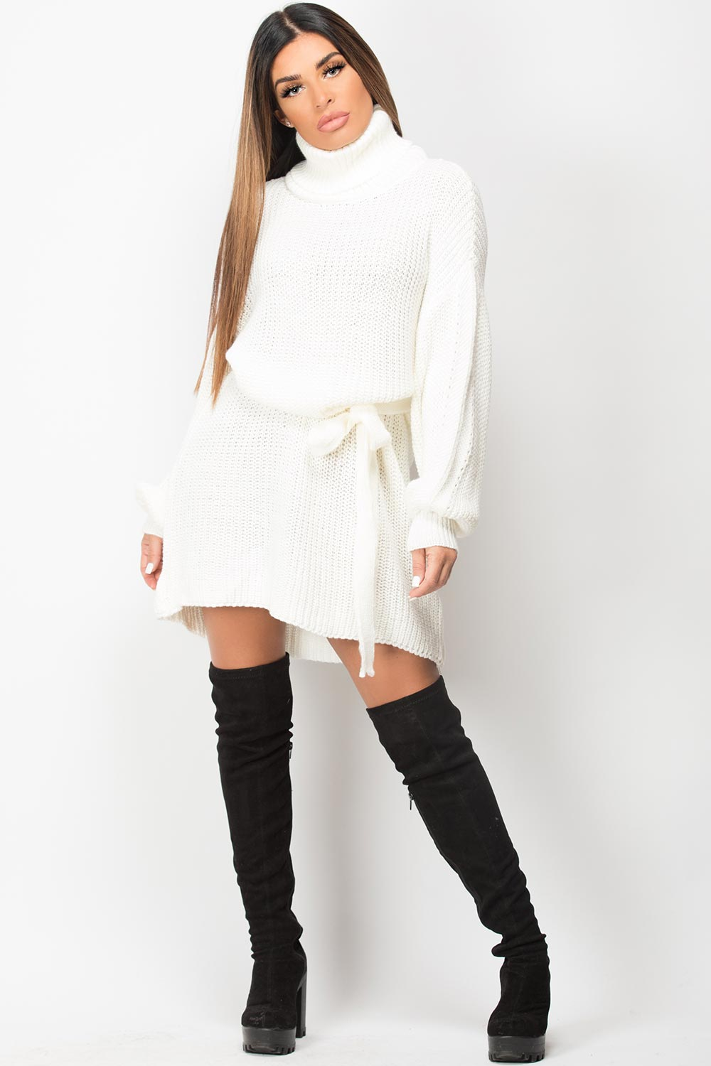 cowl neck knitted oversized jumper dress