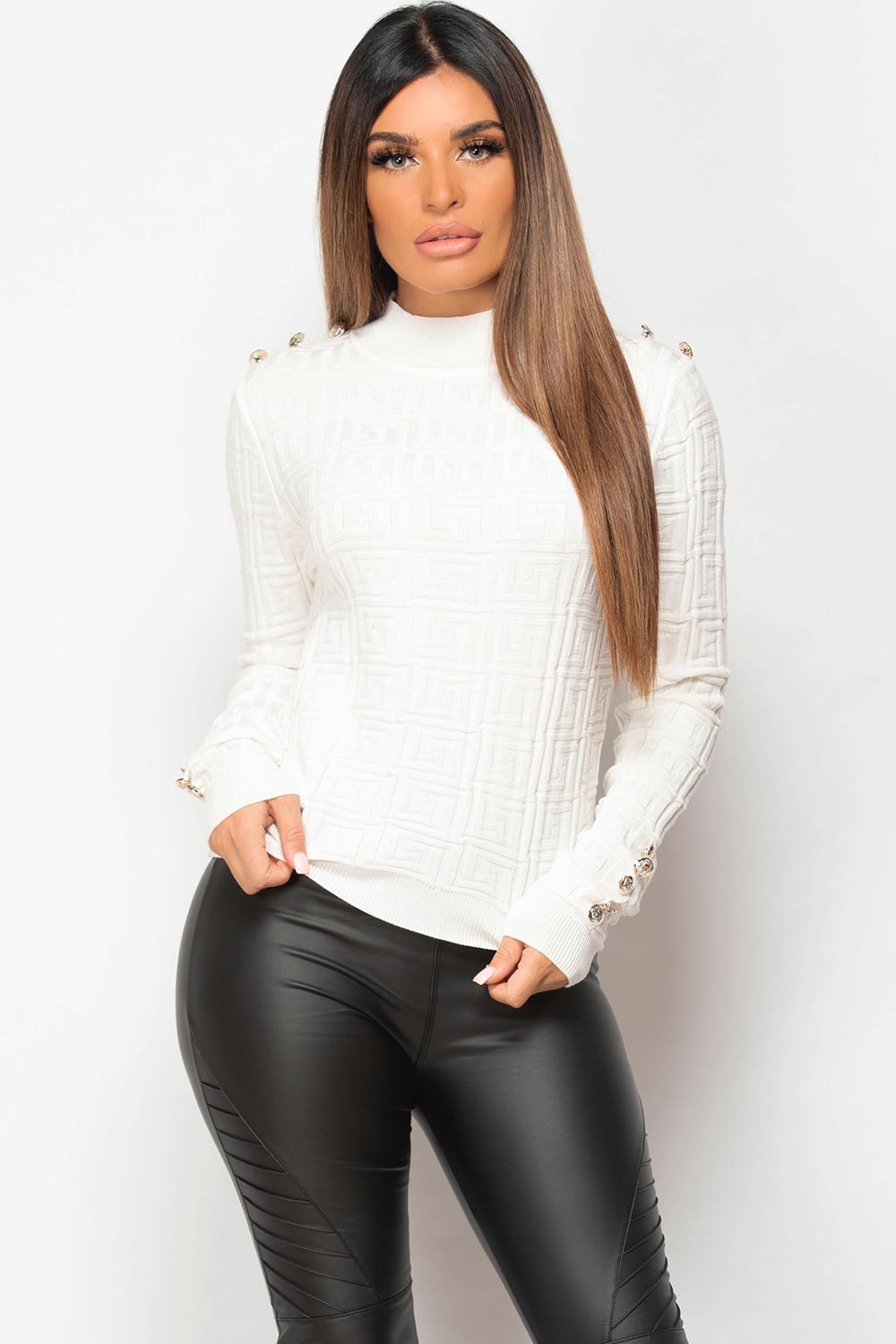 cream ribbed gold button jumper womens
