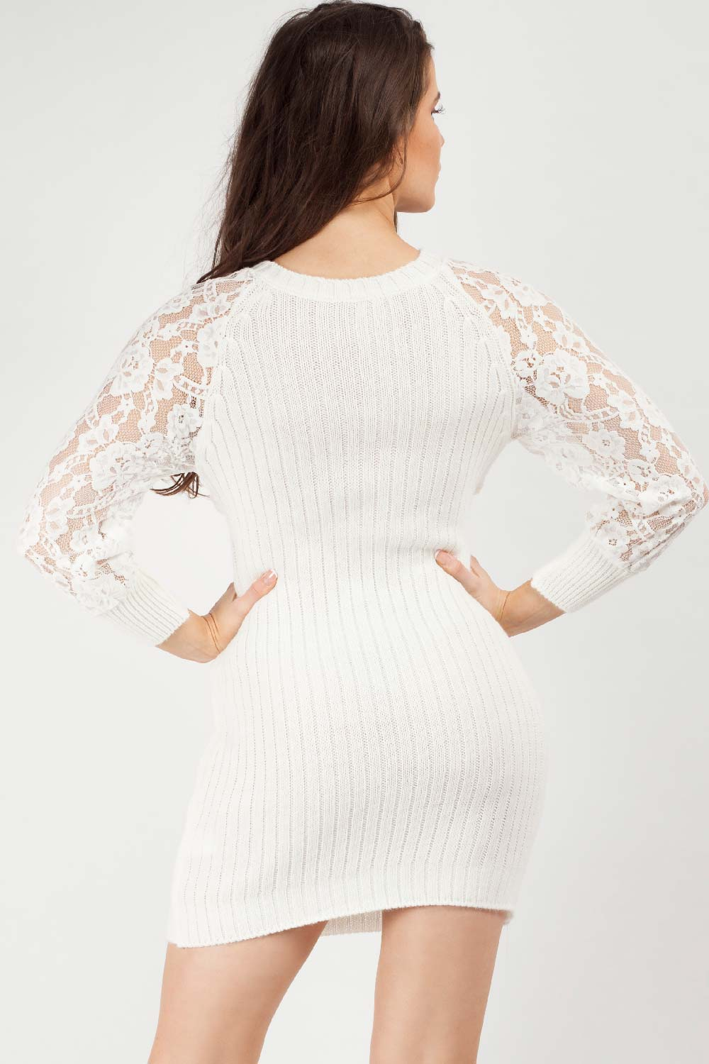 cream twist front jumper dress