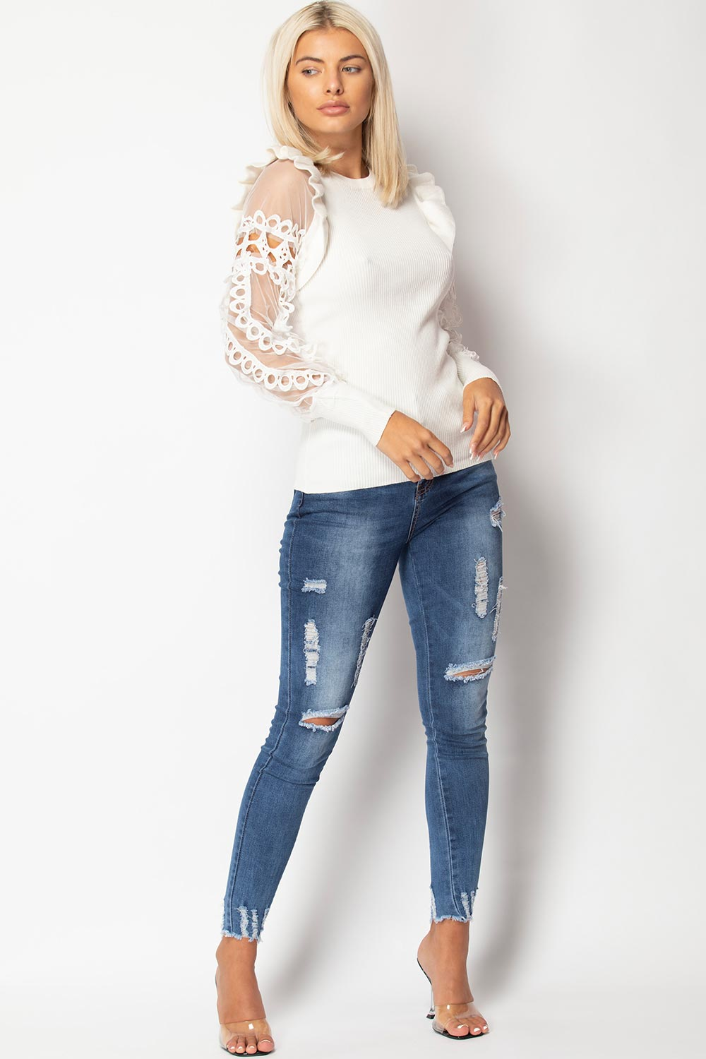 cream lace sleeve jumper