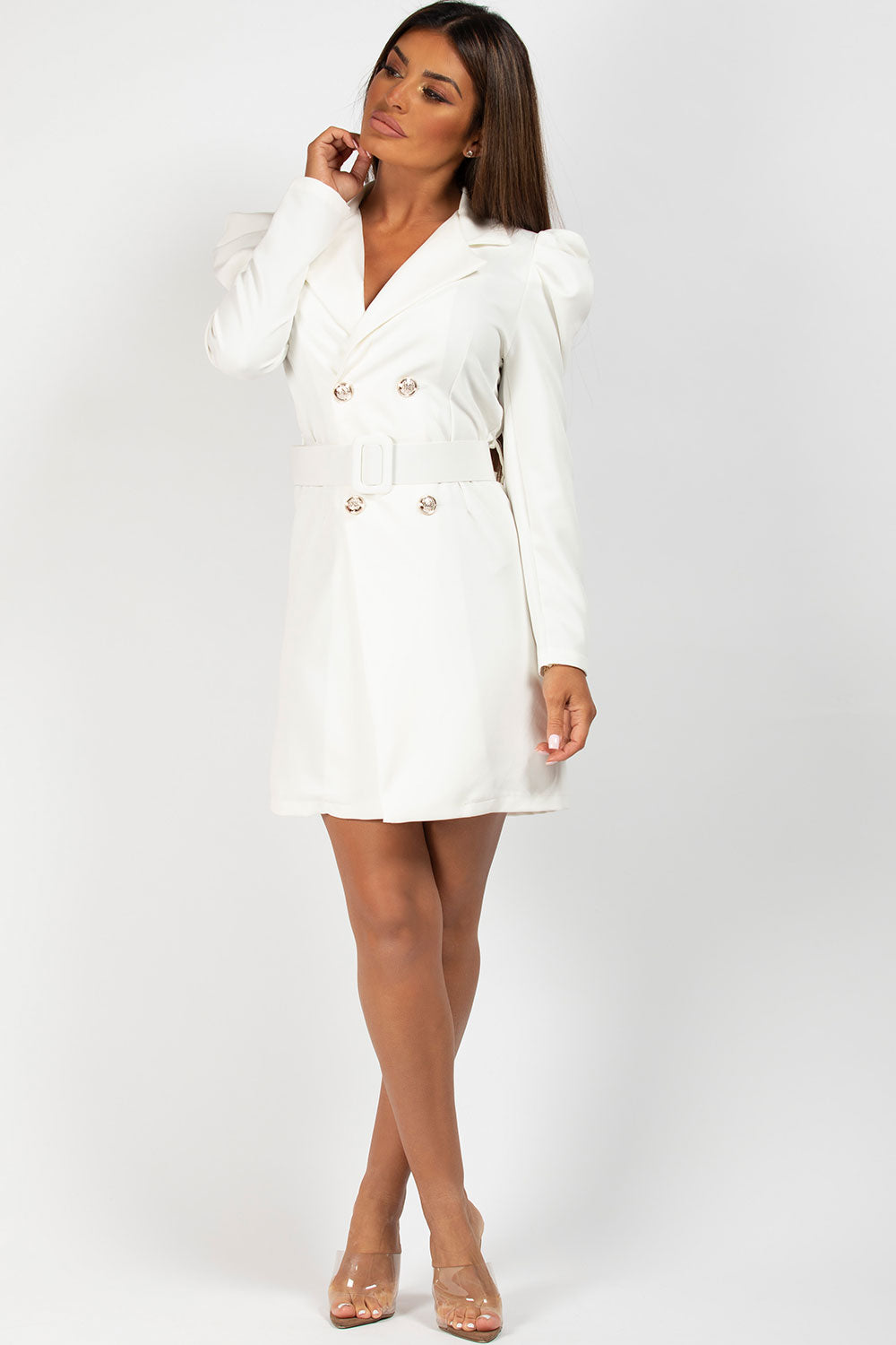 belted blazer dress cream