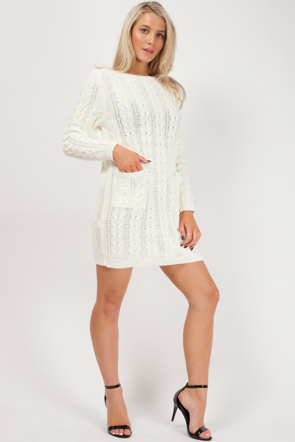 white cable knit jumper dress