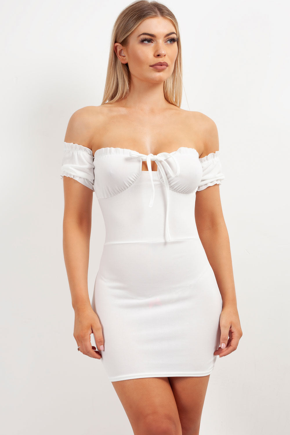 bardot bodycon mini party dress
