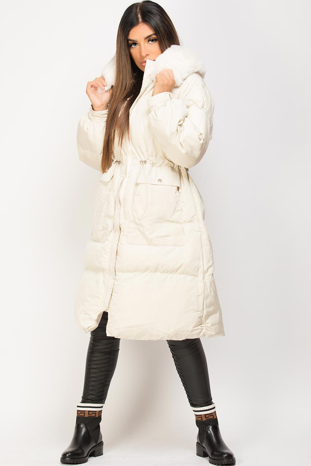 drawstring waist puffer padded long jacket
