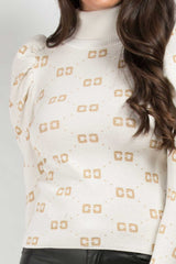 cream cc print dressy jumper womens