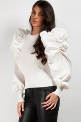 satin sleeve jumper cream