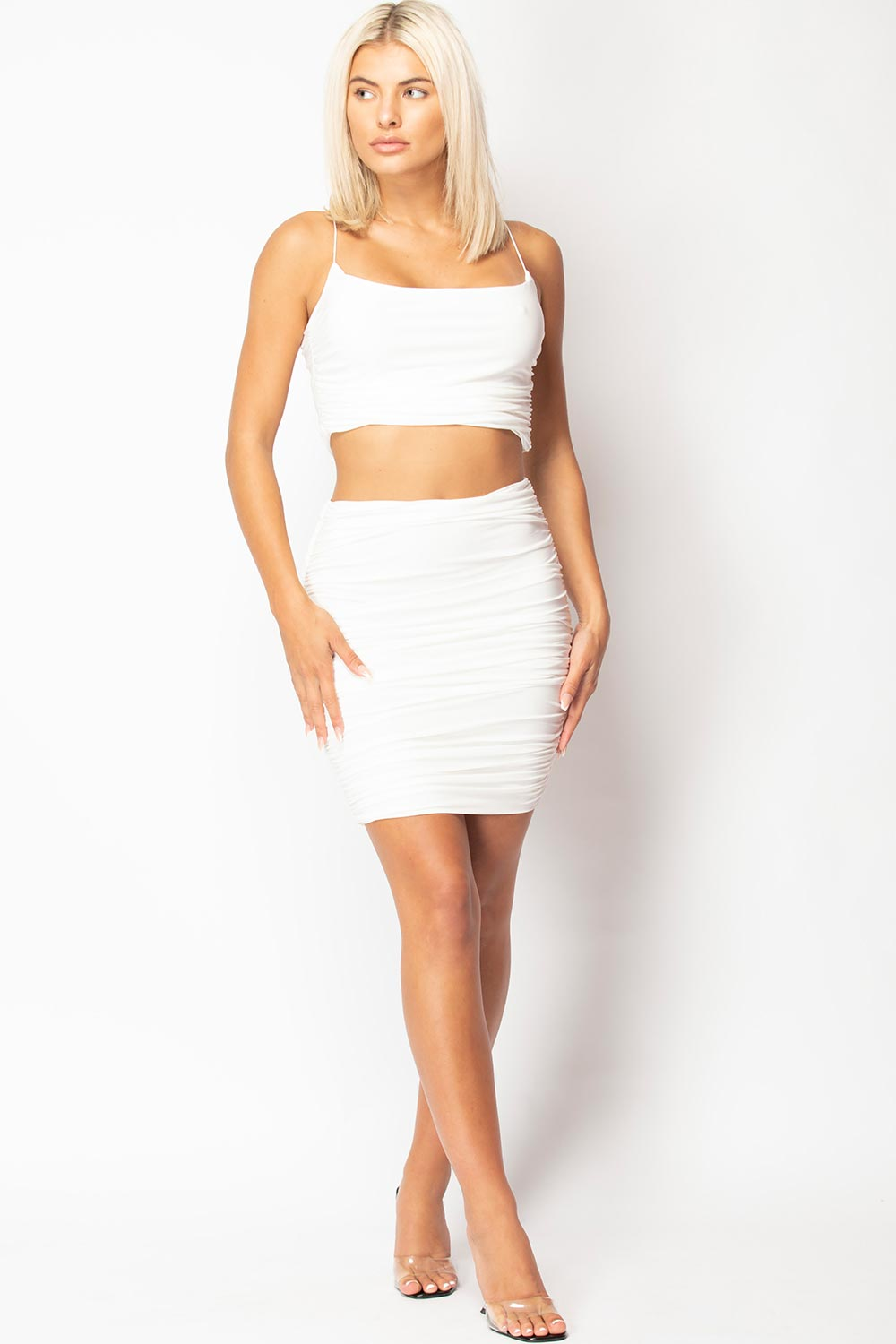 cream skirt and top two piece set