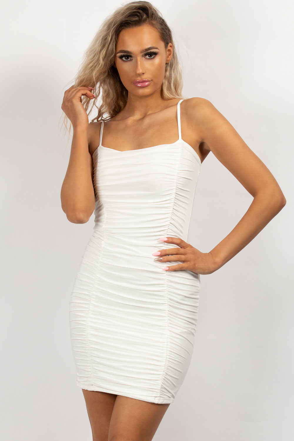 oh polly ruched bodycon mini dress cream