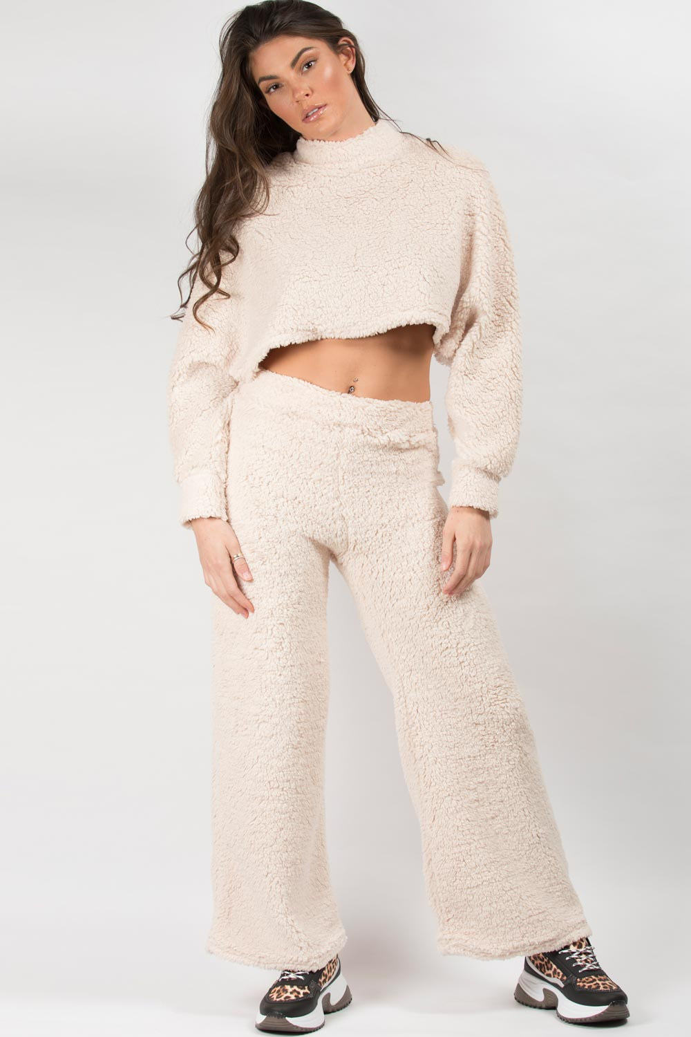 loungewear teddy bear trousers and crop top set
