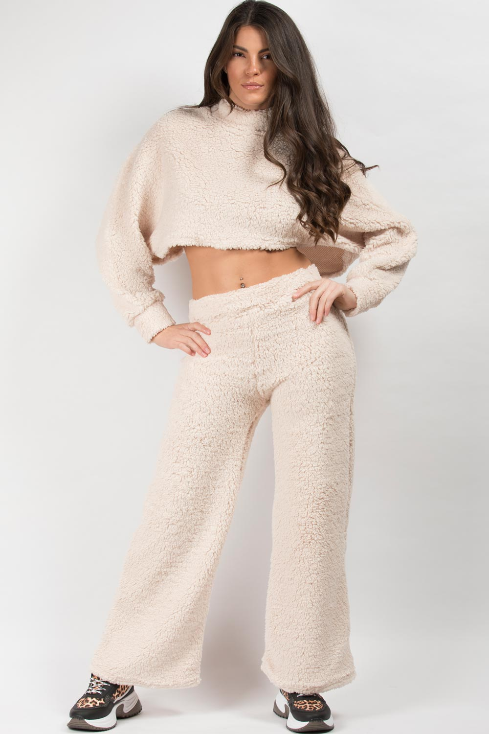 teddy crop top and trousers set