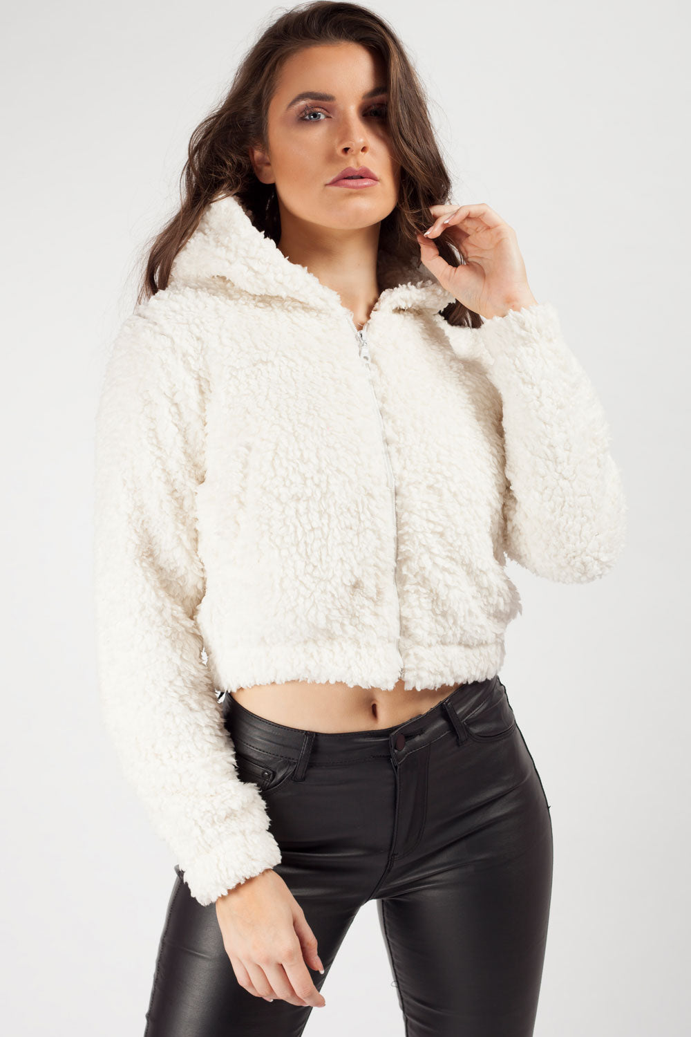 cream cropped teddy bear hoodie