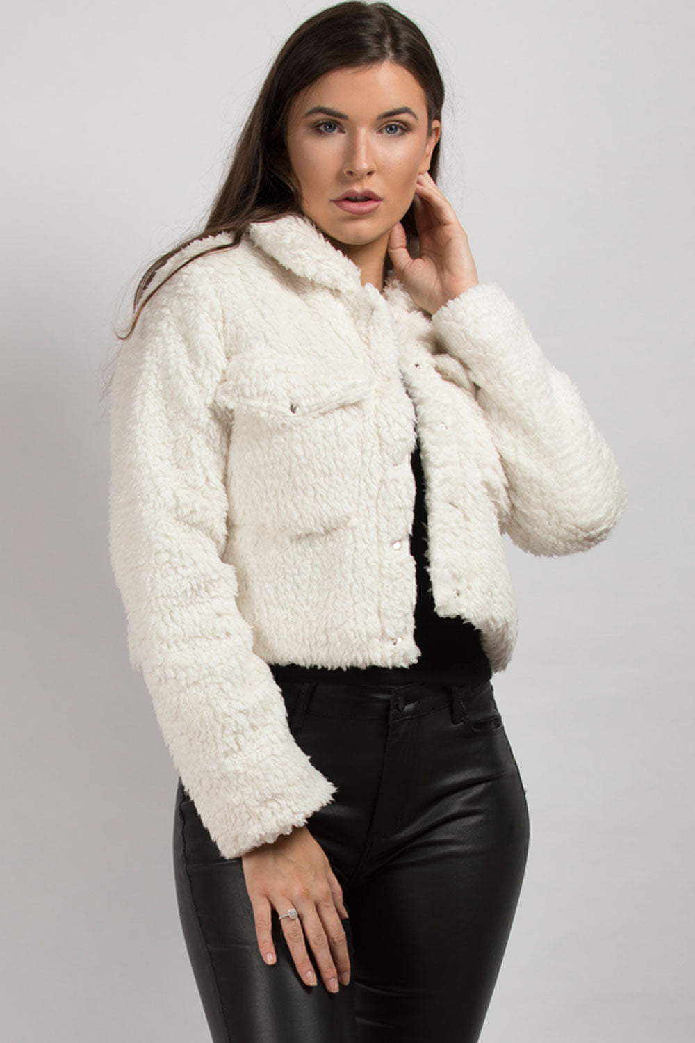 Cream Teddy Trucker Jacket