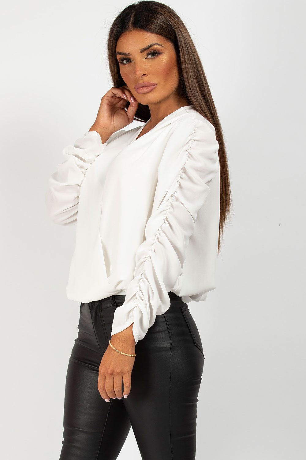 cream wrap front blouse