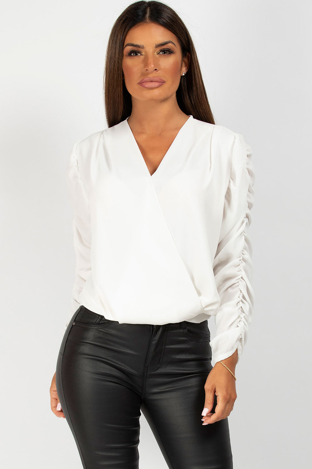 cream long sleeve wrap front top