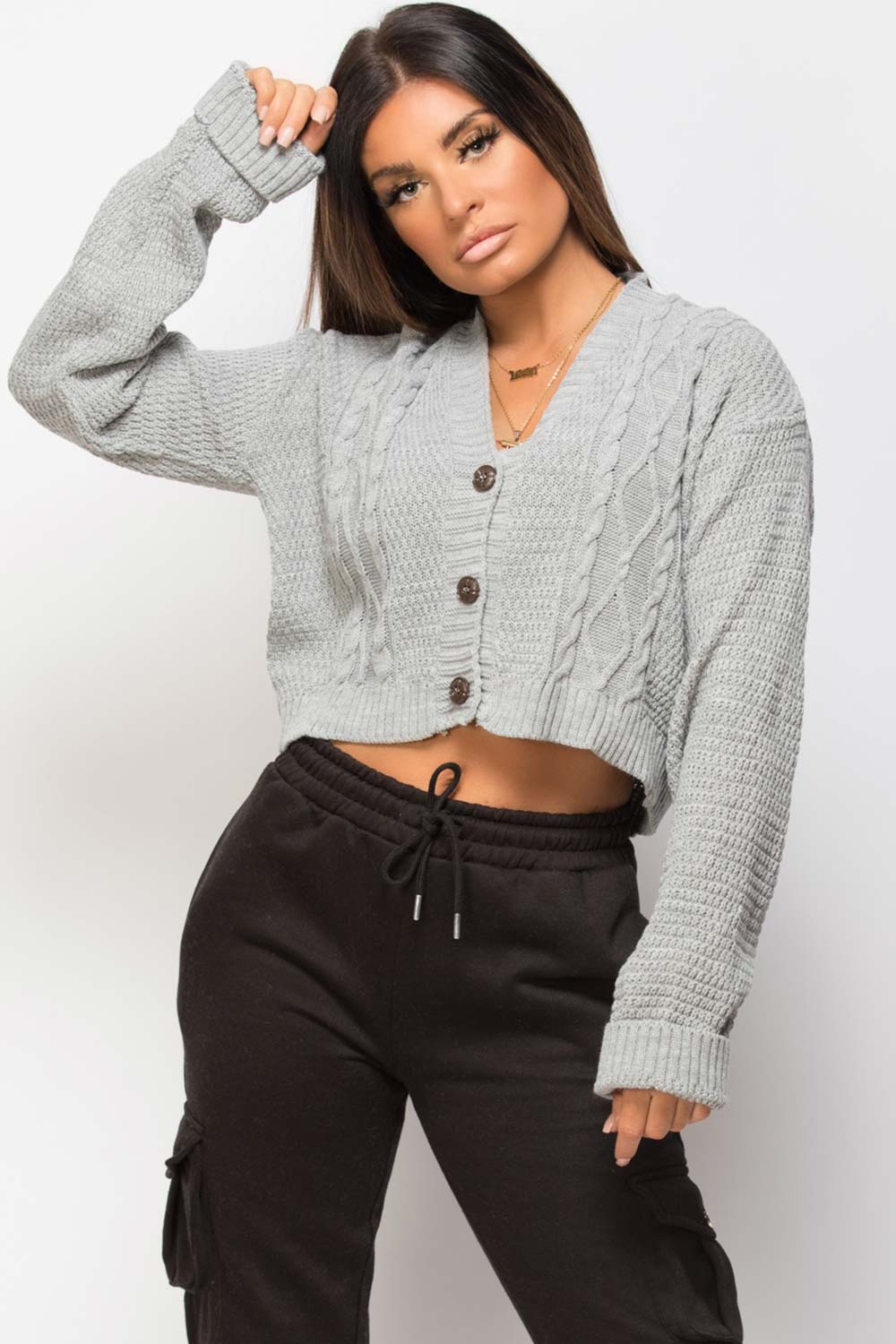 grey crop cardigan with button front