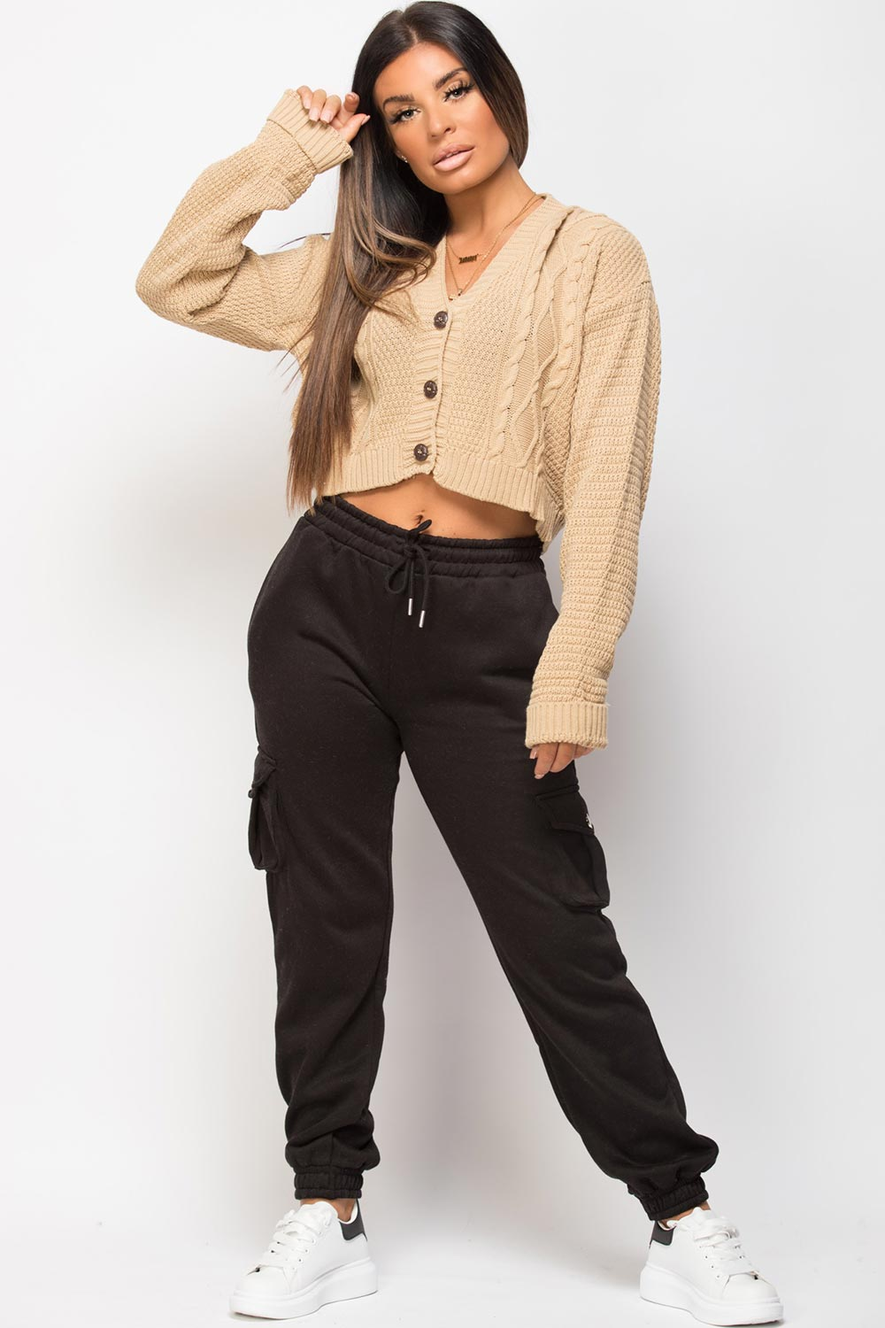 cable knit crop cardigan stone