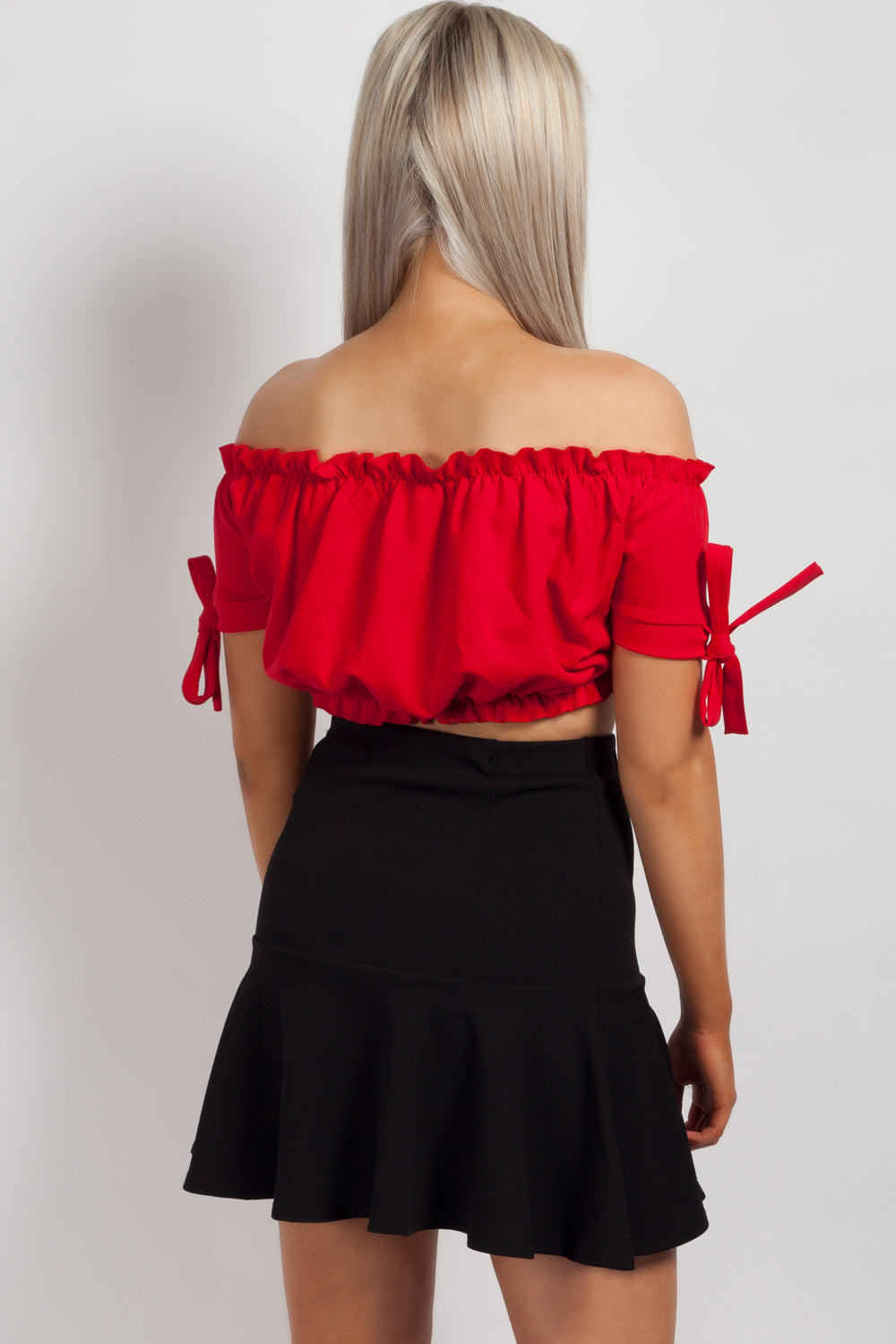 off shoulder summer top red