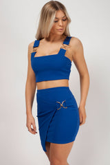 two piece skirt and top set royal blue styledup fashion