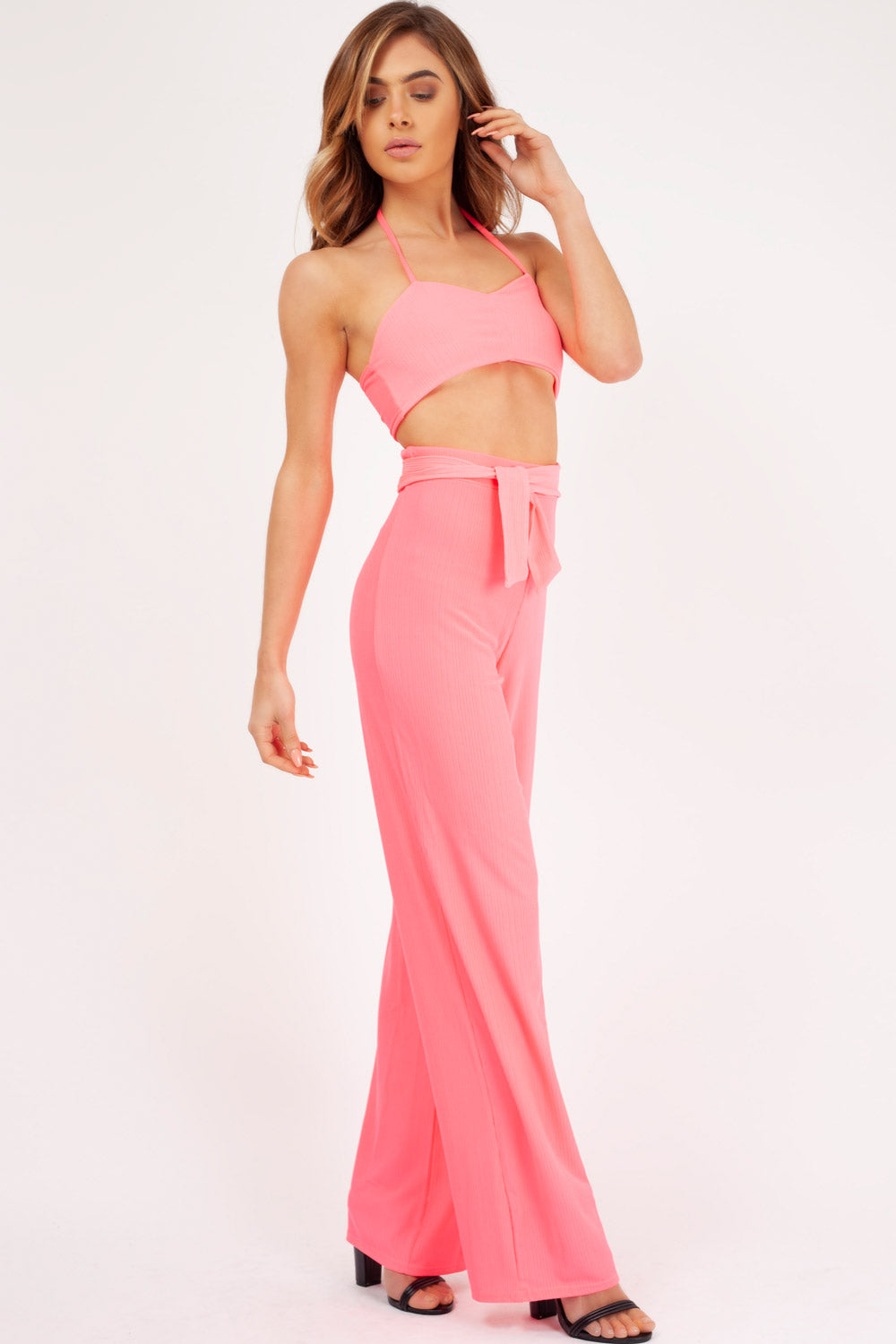 crop top and trouser two piece set neon pink