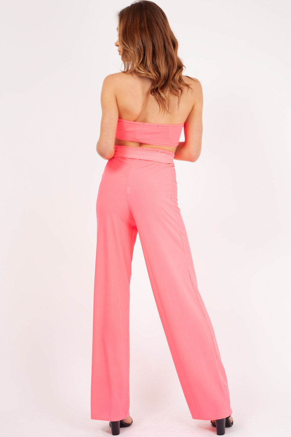 trousers and crop top set neon pink styledup fashion