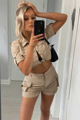 safari crop top and shorts set womens