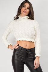 cream cropped jumper