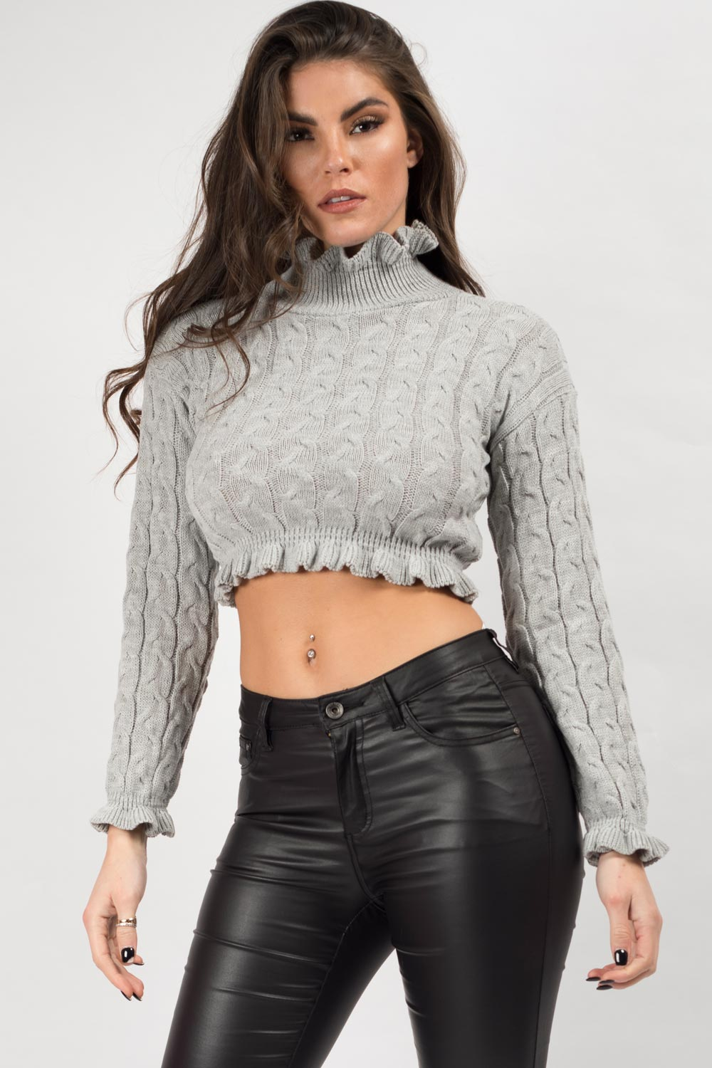 cropped knitted jumper grey