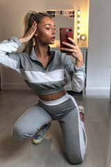 grey cropped loungewear co ord set