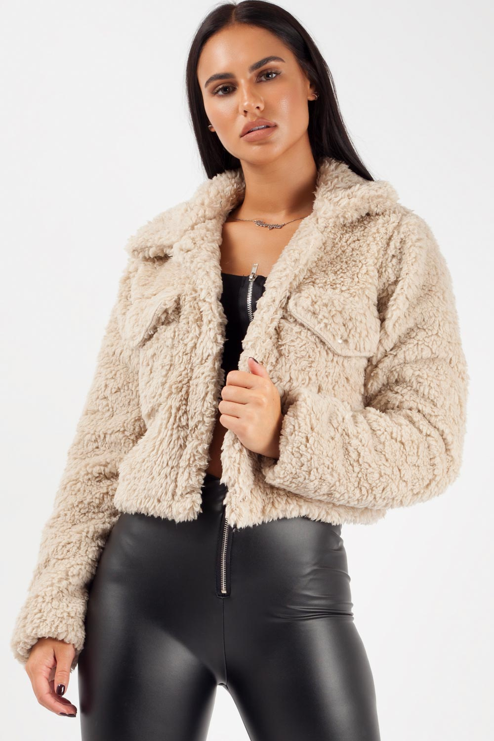 cropped teddy jacket stone