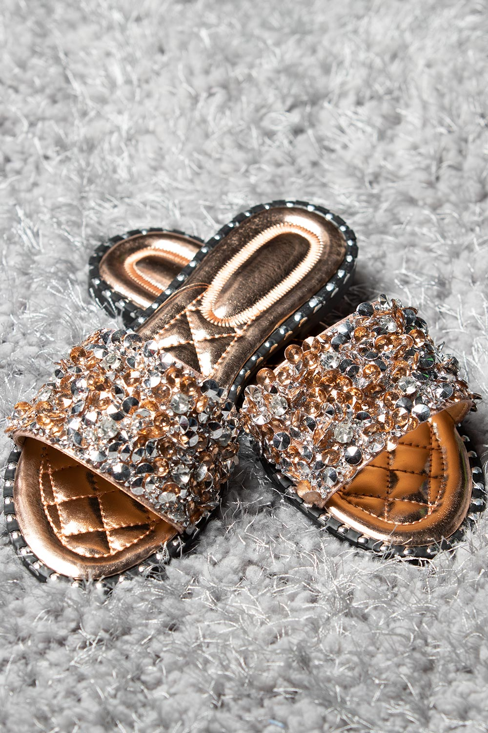 rose gold slip on diamante sliders
