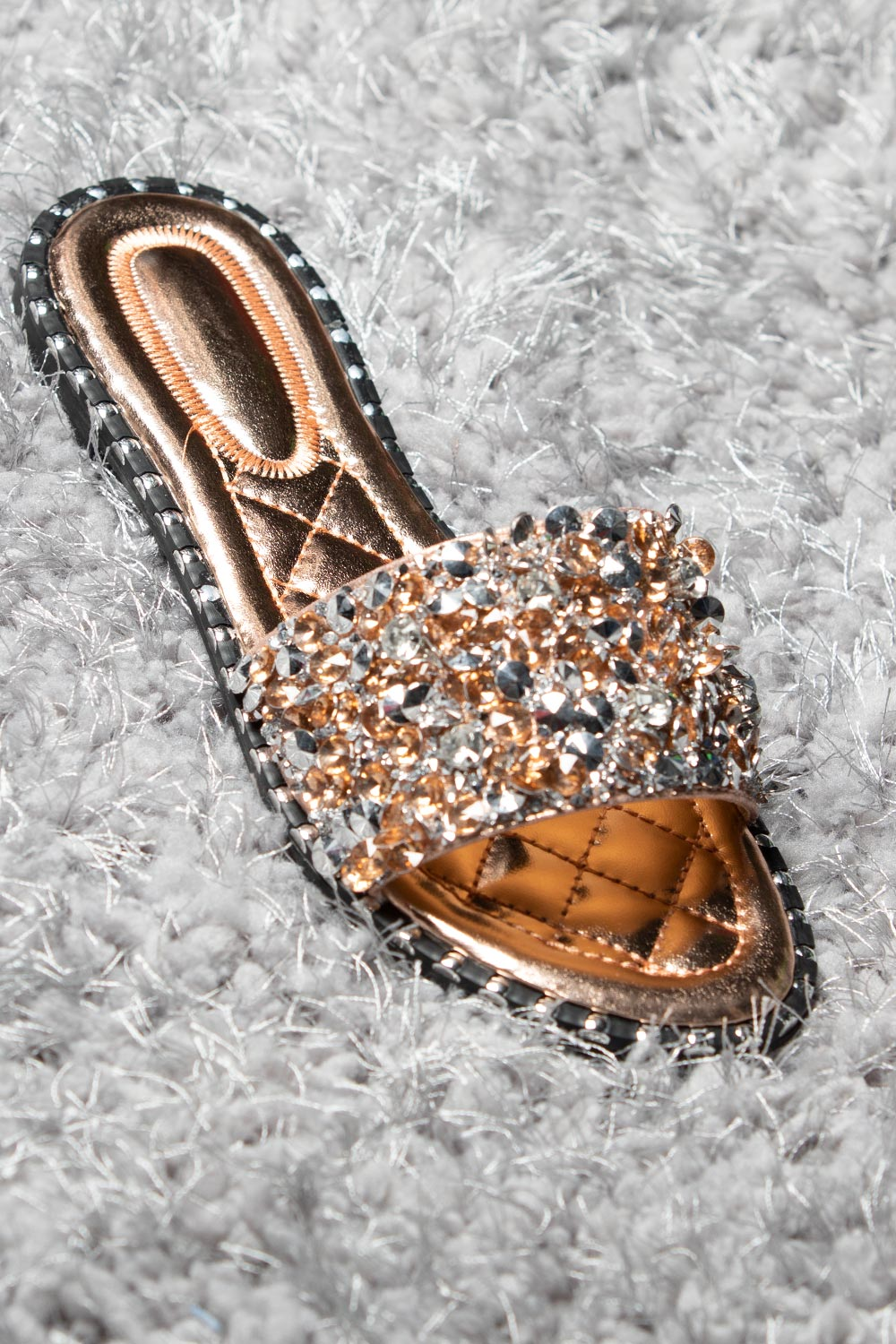 champagne slip on sandals sliders