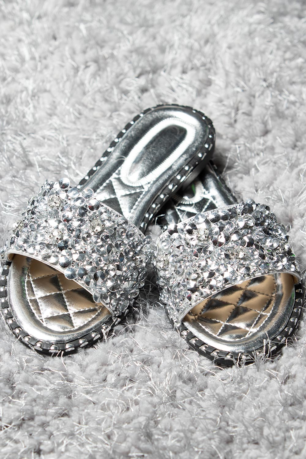 silver diamante sliders