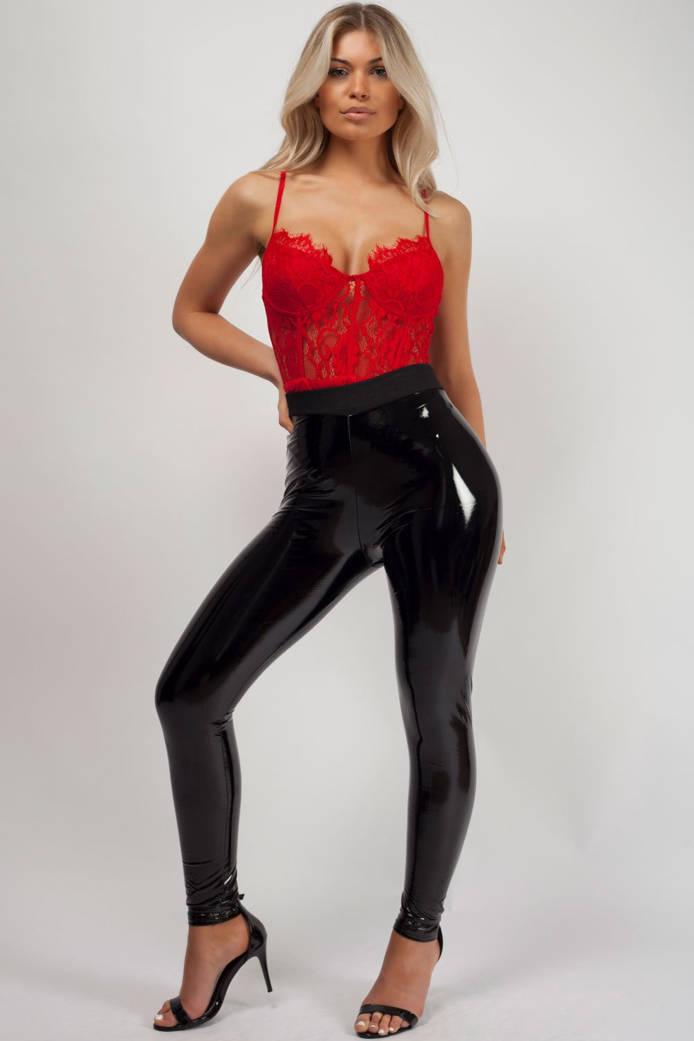 black vinyl skinny trousers uk womens