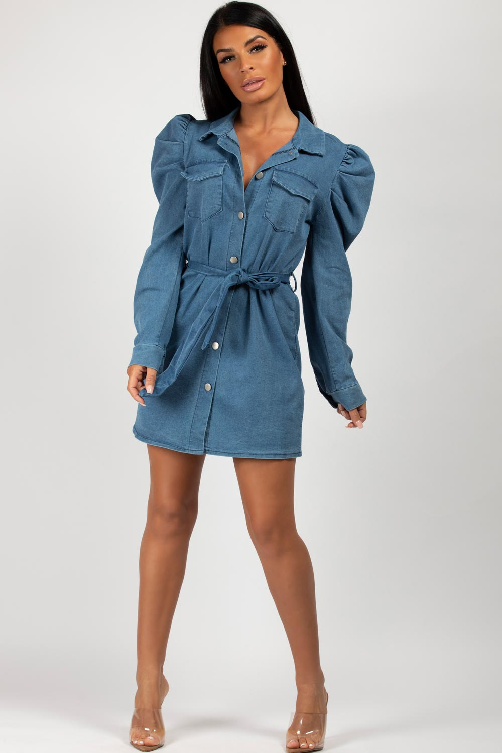 denim belted puff sleeve dress