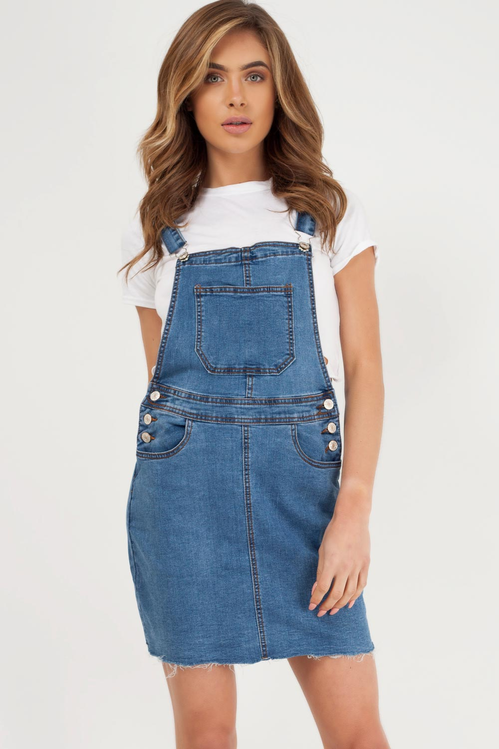 mid wash denim pinafore dress styledup fashion