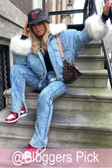 fur collar oversized denim jacket