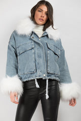 denim oversized jacket with white faux fur collar and cuffs