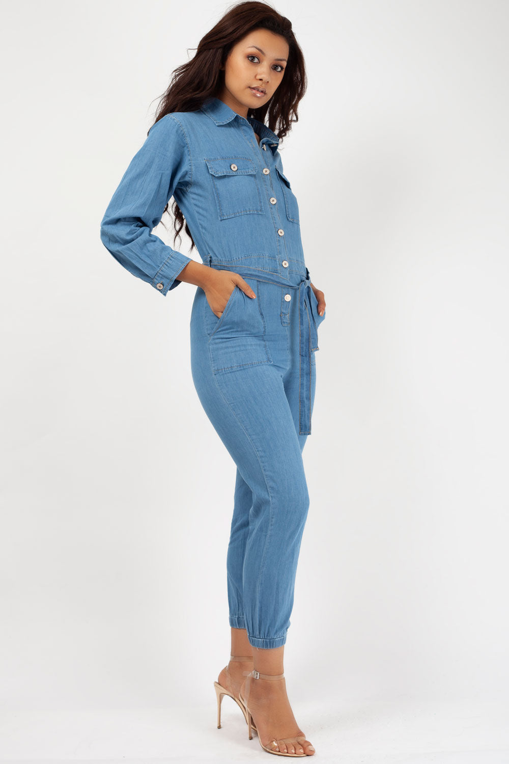 womens long sleeve denim boiler suit styledup fashion
