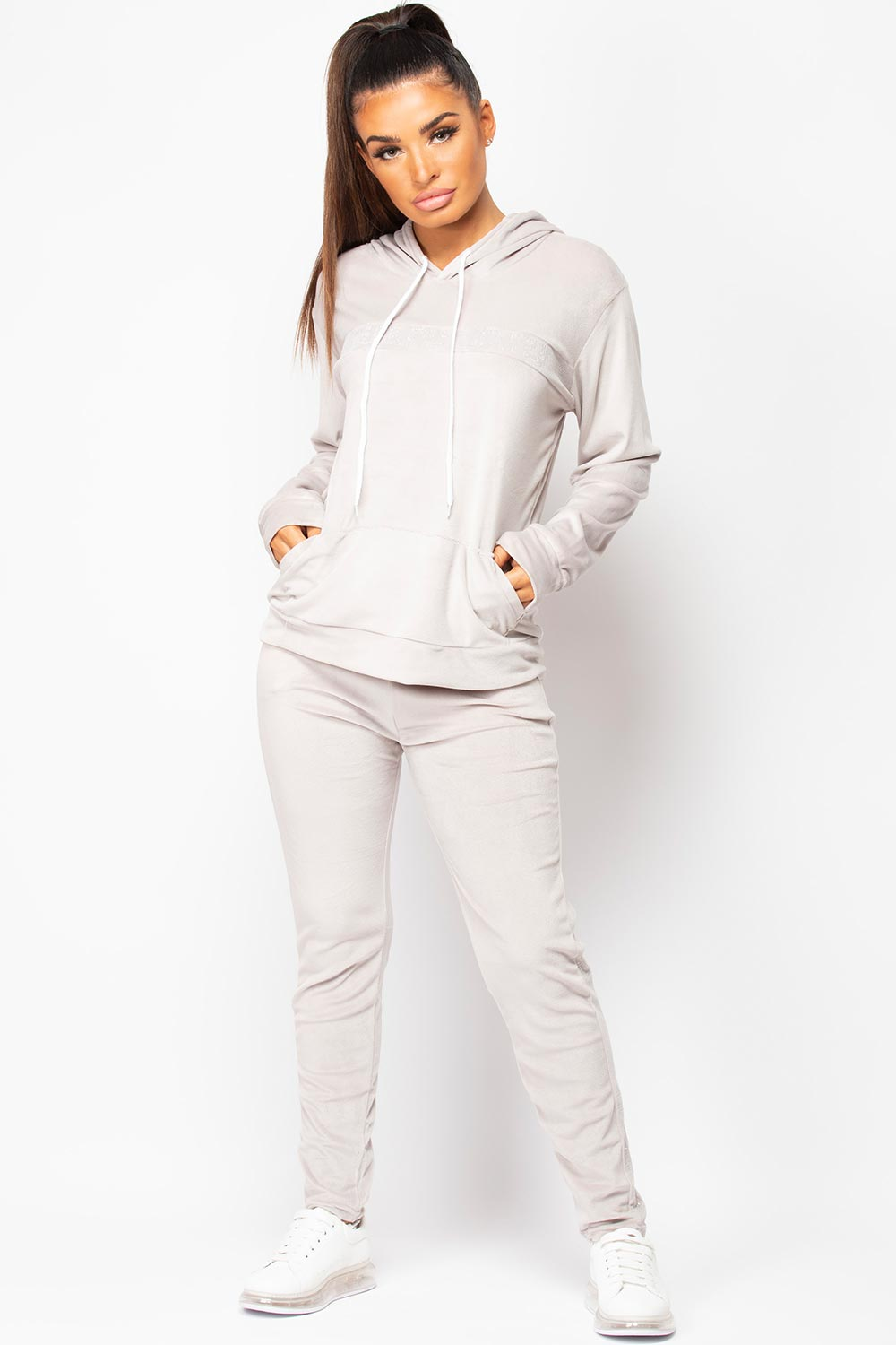 grey velour tracksuit set womens