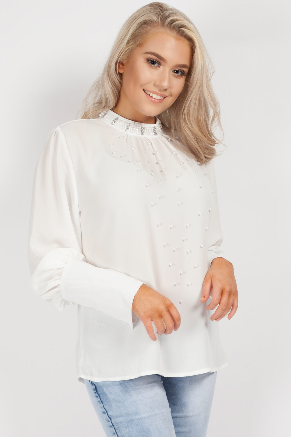 chiffon diamante top cream