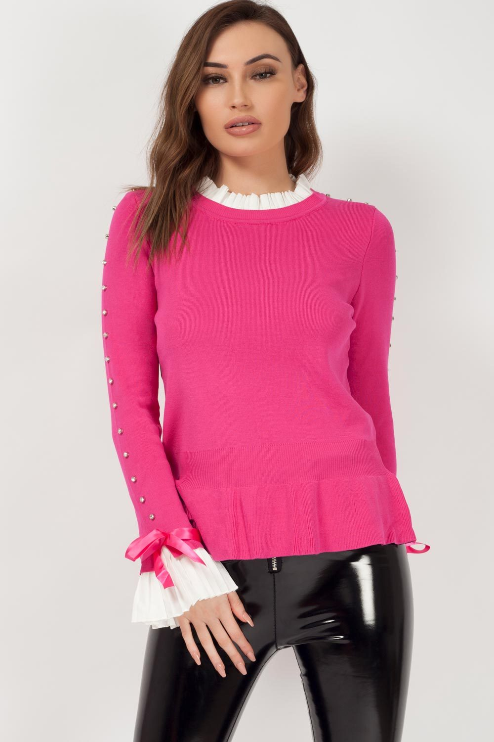 jumper with bow detail pink uk