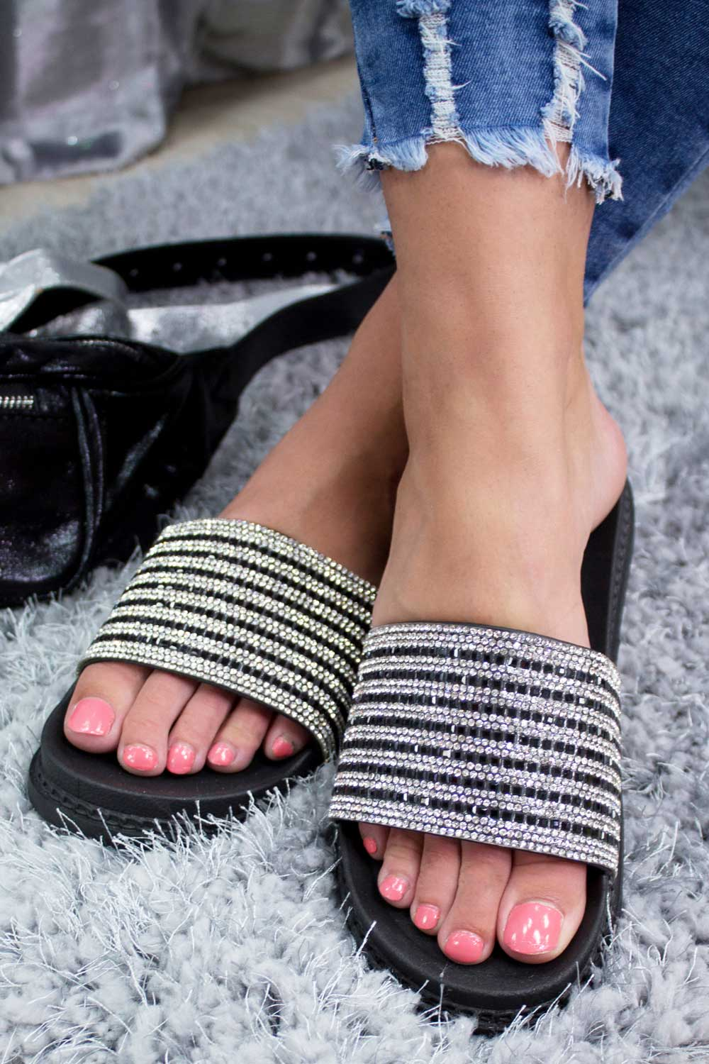 black diamante sliders