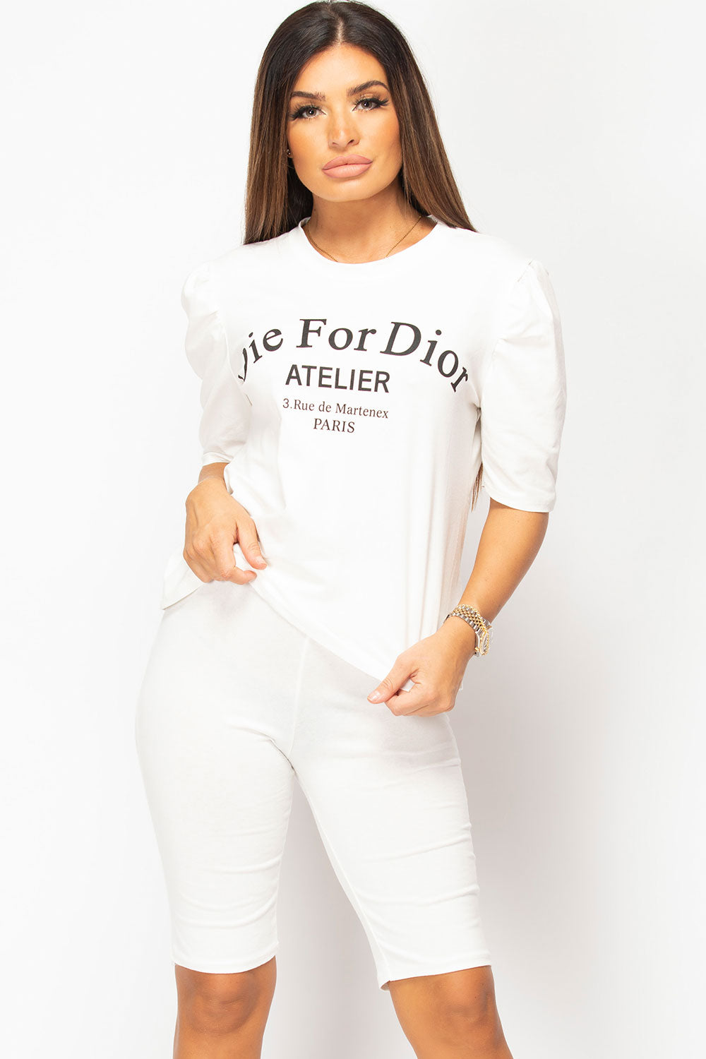 Die For Dior Slogan T Shirt And Cycling Short Set Cream